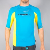 O'Neill Mens Skins Short Sleeved Crew (Sky/Yellow/